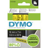 Dymo D1 Label Cassette Tape 12mmx7m Black on Yellow
