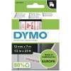 Dymo D1 Label Cassette Tape 12mmx7m Red on White