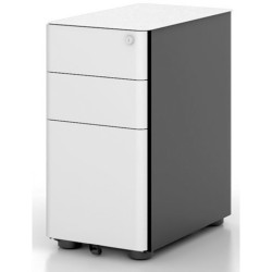 Eternity Slimline Mobile Pedestal 300Wx535Dx580mmH 2 Drawer 1 File White & Black