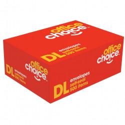 OFFICE CHOICE DL ENVELOPES 110X220 SelfSeal Plain 80g Box of 500
