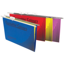 Crystalfile Suspension Files Enviro Foolscap With Tabs & Inserts Assorted Pack Of 25