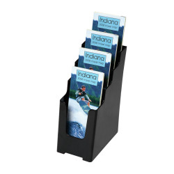 Deflect-O Brochure Holder DL Sustainable Office 4 Tier 60% Recycled Black