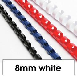 REXEL BINDING COMB 8mm 45 Sheet Capacity  White Pack of 100