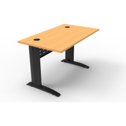 Rapid Span Open Straight Desk 1200Wx700mmD Modesty Panel With Beech Top & Black Steel Frame