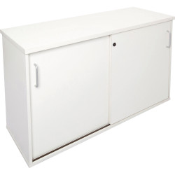 Rapid Span Credenza 730Hx1200Wx450mmD Lockable Sliding Doors All White