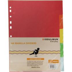 BIBBULMUN MANILLA DIVIDER A4 5 Tab Brights